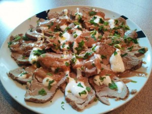 Faux Pork Loin Carpaccio with Tiger Sauce