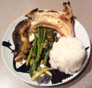 Broiled hamachi collar, sautéed asparagus and leeks, grated daikon with lemon and black salt, and rice.