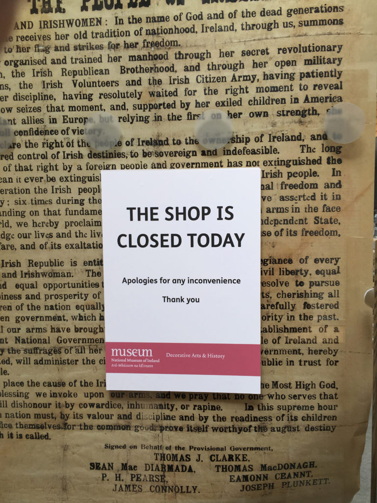 This is what is called a missed opportunity. How do you close your gift shop on one of the busiest days of all time?